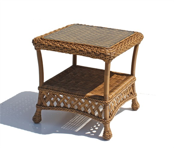 Used White Wicker Coffee Table: Outdoor Wicker End Table - Montauk Natural
